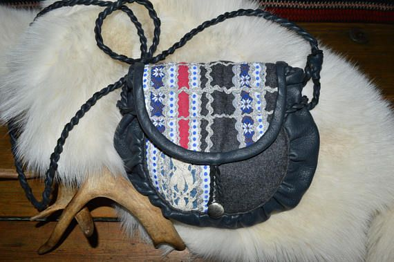 Modern saami bag. Traditional sami pattern white and blue