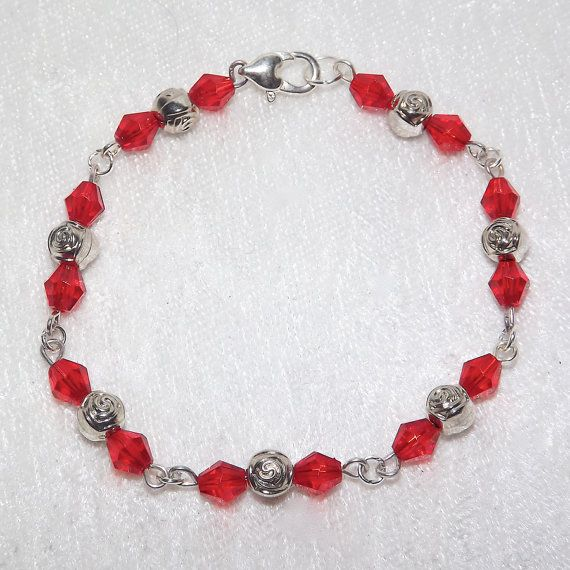 Beaded Bracelet  Roses Sparkly Red  FREE UK P&P  by KasumiCrafts