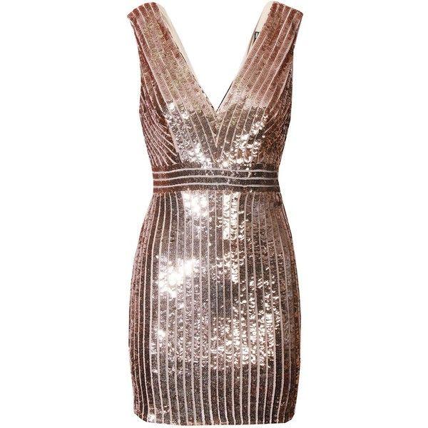 TFNC Oliva Rose Gold Sequin Dress (£59) ❤ liked on Polyvore featuring dresses, sequin dresses, sequin embellished dress, tfnc, brown sequin dress and rose gold cocktail dress
