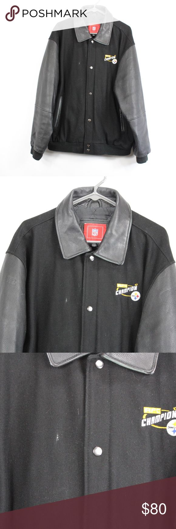Pittsburgh Steelers Mens XL Leather Bomber Jacket