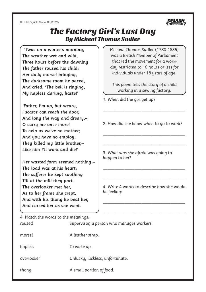 First Fleet: The Factory Girl's Last Day Worksheet