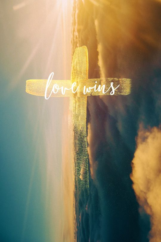 The Cross is LOVE WINS! For God so loved the world, that He gave his only Son, that whoever believes in him should not perish but have eternal life. // John 3:16 love wins  because love came down fully God, fully human, and conquered the grave. Love wins because God loves us through our transgressions. Love wins because of Jesus on the cross.
