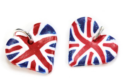 Jubilee Union Jack Heart Pendant  Fimo  from Bijoux Beads