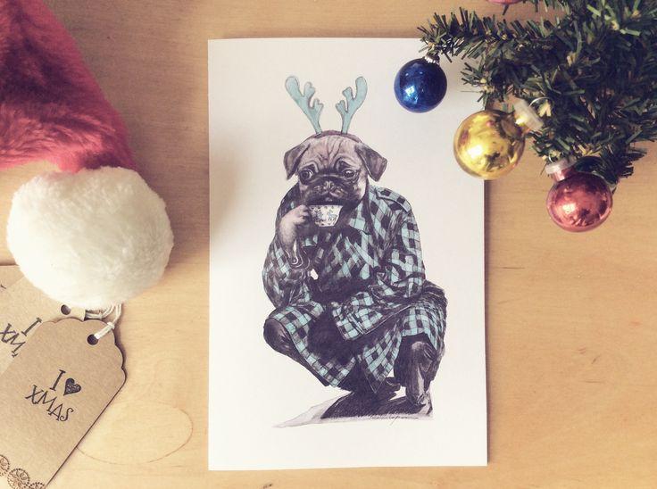 Green Pug dog drinking tea for christmas cards