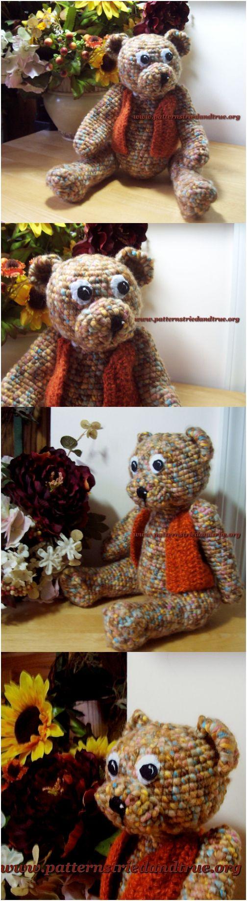 Crochet Jointed Teddy Bear Pattern, Crochet Vest Pattern included, DIY Scrapbooked Digital Instant Download PDF File