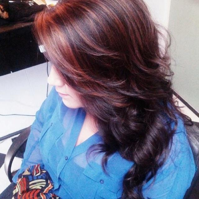 Dark Brown Hair With Deep Red Highlights 7000 Hair Highlights