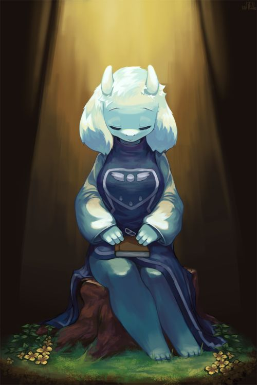 """* whoa, you guys know mom, too?... um... not actual mom. i don't think i had one. but, y'know, honorary mom. there were a couple different versions of """"toriel"""" i've met from the original timeline cluster, but... never mind. just miss her, 's all. she did get to see the surface, so i guess i should be happy for her, but... still. kinda lonely here now."""