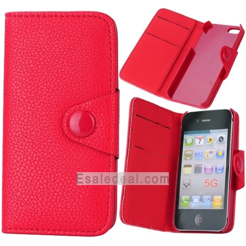 Wholesale iphone 5 Flip Case Cover Pretty Magnet Lock PU Leather Wallet Case for iPhone 5 Online Shop Discount Price(Red)
