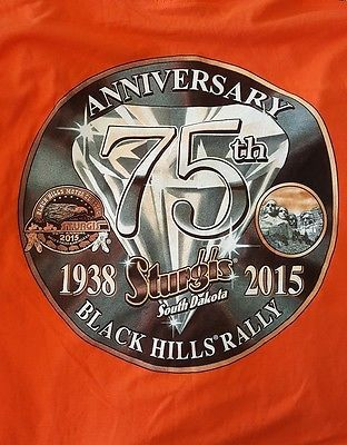 Sturgis 2015 Black Hills Rally Motorcycles T-Shirt Orange  XL NWT 75th Annivers.
