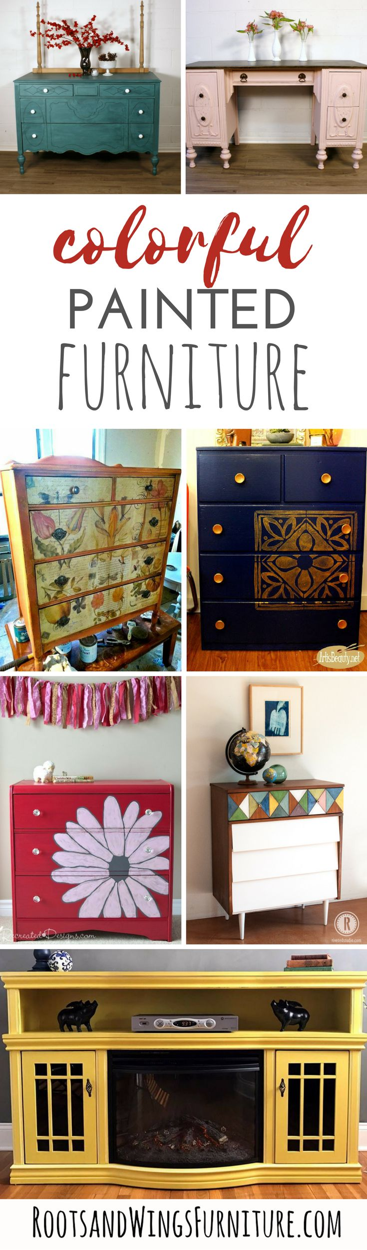 A collection of colorful painted pieces by some of the top furniture refinishers! Find color inspiration with these painted pieces. Round up by Jenni of Roots and Wings Furniture.