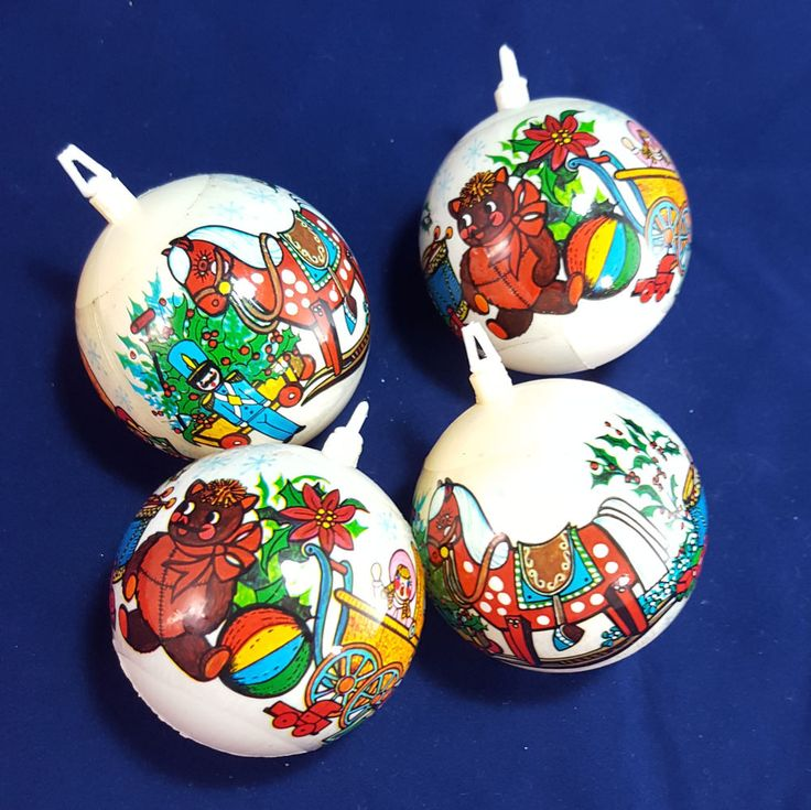 4 Vintage Midcentury Christmas Tree Ornaments Holiday Toys White Balls Plastic