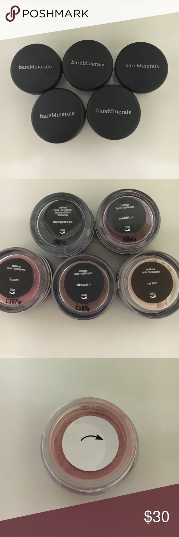 Bare Minerals set of 5 eyeshadows 5 brand new never opened Bare Minerals shades. Makeup Eyeshadow