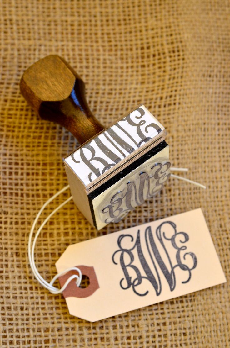 Custom vine monogram wooden hand stamp