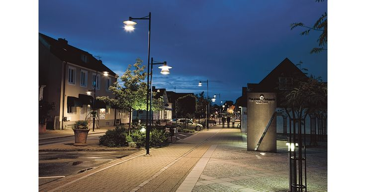 Chosen to light up the city centre of Åhus were our Stockholm II posts and our Stubben bollard