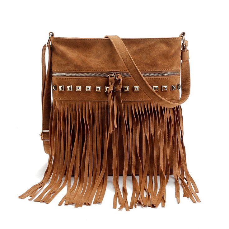 Womens Tassel Rivet Handbag Shoulder Bags CrossBody Messenger Bags Satchel  Tote $20.00 free shipping You save