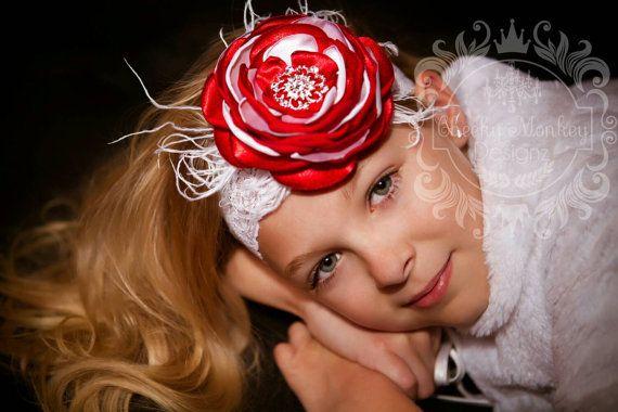 Satén rojo y blanco Singed diadema flor por CheekyMonkeyDesignz