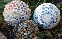 Garden Art: Styrofoam- Birds & Blooms. Styrofoam sphere covered in tiles/rocks/ceramic pieces/etc. (adhesive or hot glue) then grout. Apply grout sealant if desired. Lighter then using bowling balls...