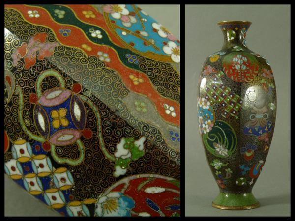 Rare Pretty Ando Cloisonne Japanese Jin Ho Rich Colorful Treasure