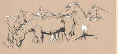 Anton Pieck (1895-1987) - 'Wilde paarden', originele boekillustratie