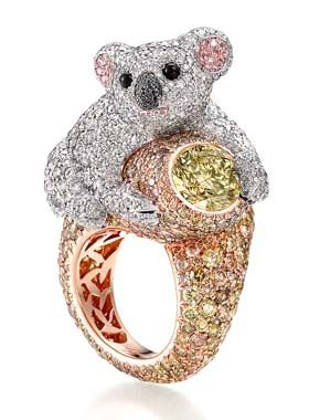 Chopard Koala Ring in 18ct white & rose gold set with two round coloured diamonds (4cts), multicoloured diamonds (grey, green, brown, pink, black) (16cts), white diamonds and onyx.  Oh so very cute .. and gorgeous!  Make you smile? :)