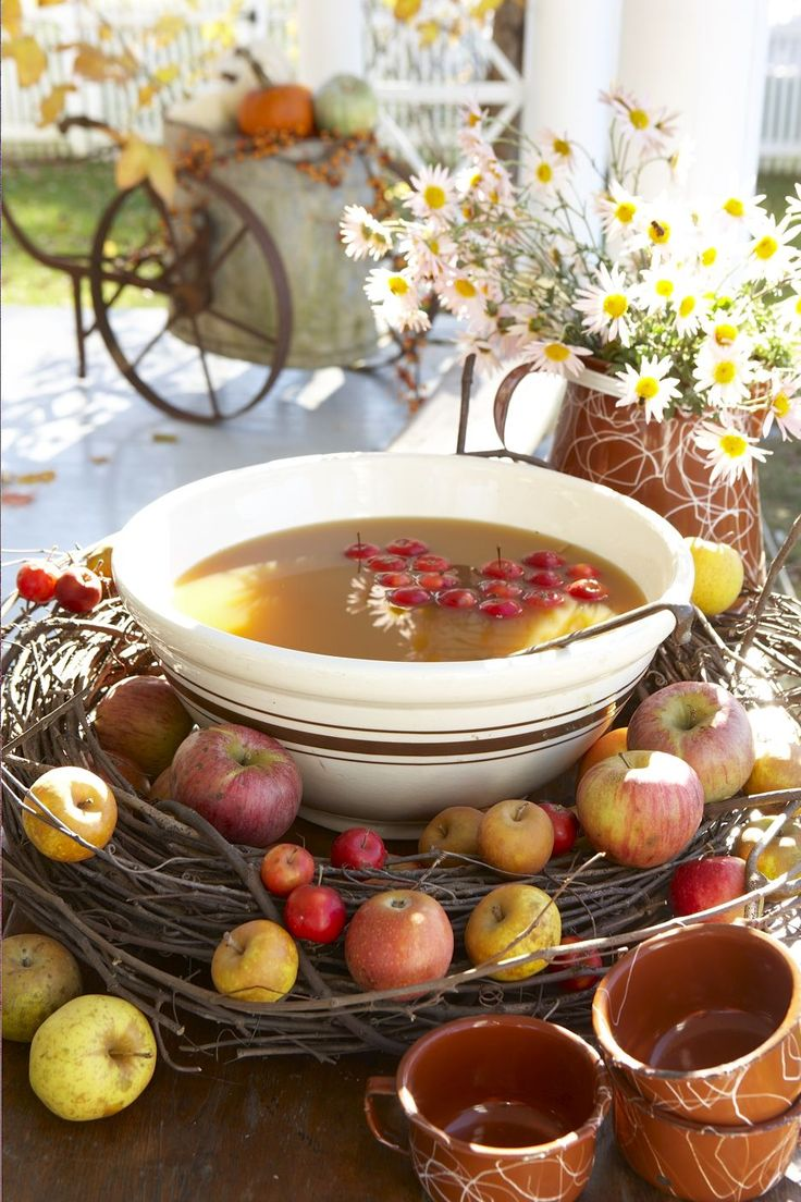 Great serving idea for cider (with crabapples)...especially since I own an identical bowl!  (Karin Lidbeck: Apples....November Style)