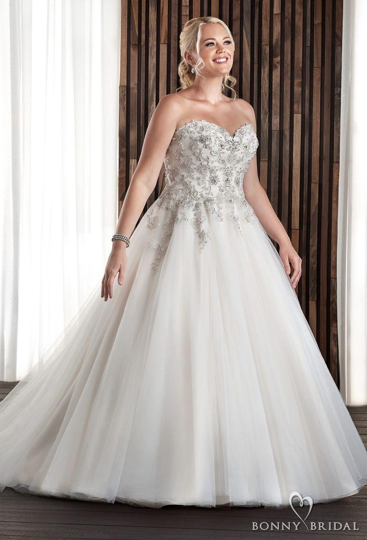 bonny bridal 2017 strapless sweetheart neckline heavily embellished bodice tulle skirt plus size a  line wedding dress chapel train (1709) mv -- Bonny Bridal Wedding Dresses