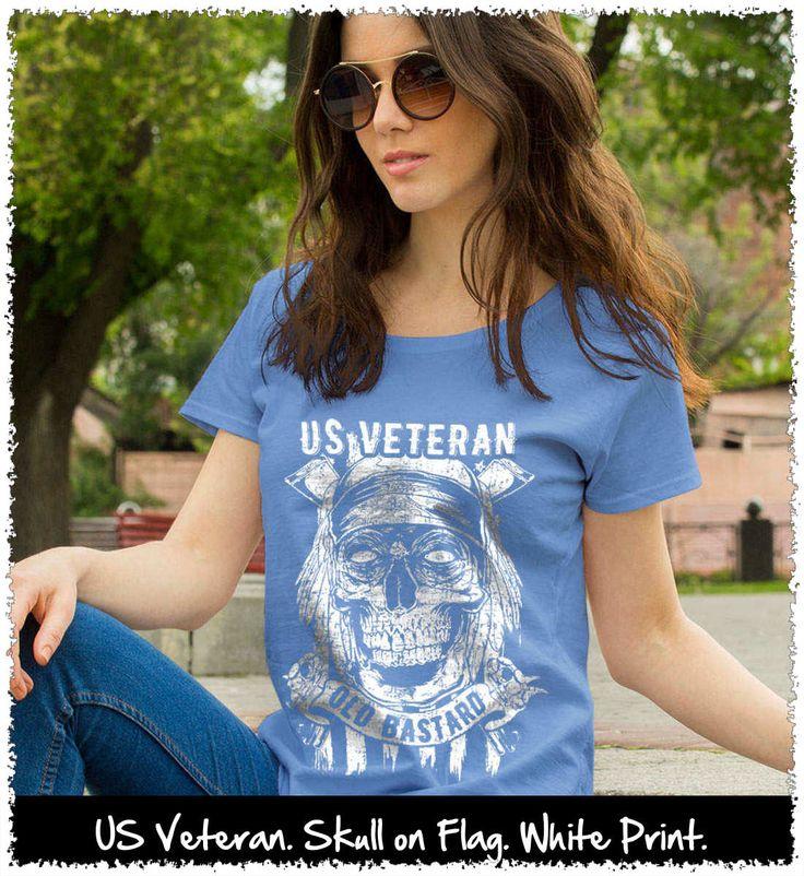 US Veteran. Skull on Flag. White Print. Women's: Gildan Ladies' 100% Cotton T-Shirt. Iris.  #loyalnineapparel #loyalnineclothes #veterans #marines #instagood #fashion #military #army #gungirl #usa #ootd #cute #pewpewlife #teeshirt #airforce #veteran #stylish #armedforces #patrioticwomen #usairforce #shootingrange #womenstee #usmc #pewpew #tee #womensshirt #girly #neverforget #2a #girlswithguns