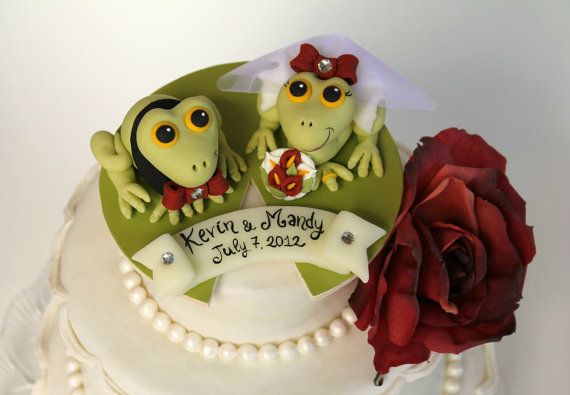 Frog wedding cake topper funny cake topper with by PerlillaPets