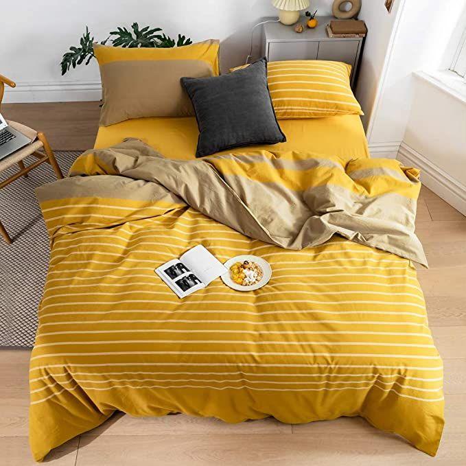 Amazon Com Mkxi White Striped Yellow Duvet Cover Set King 100 Washed Cotton Bedding Brilliant Hotel Collect Duvet Covers Yellow Yellow Duvet Duvet Cover Sets