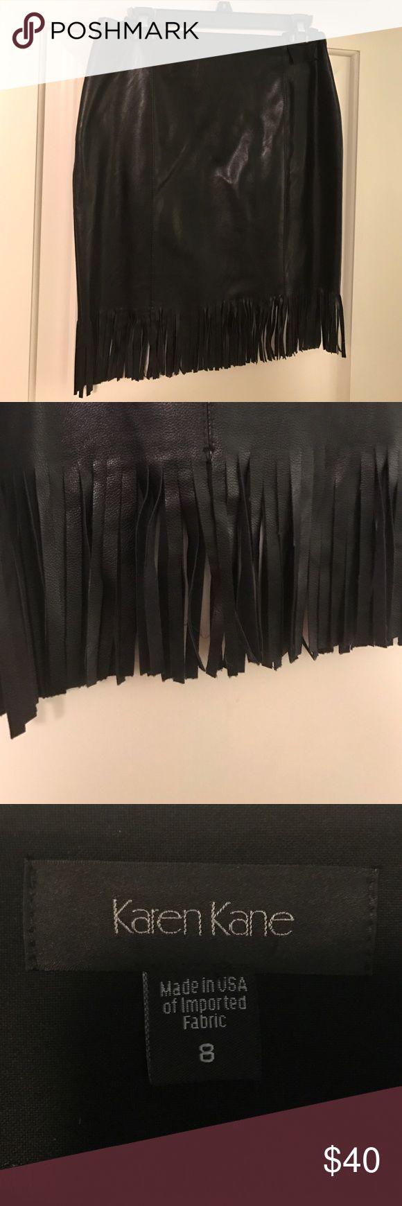 Black Karen Kane Vegan Leather Skirt Black vegan leather Karen Kane skirt with fringe bottom. Karen Kane Skirts Pencil