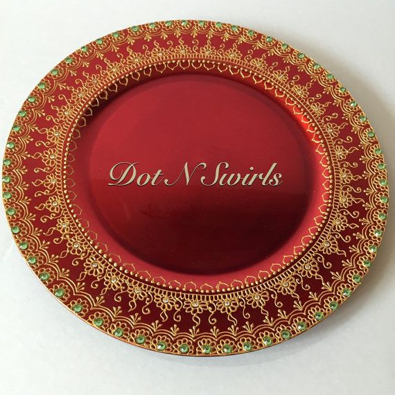 Beautiful HANDMADE Charger Plate/Henna Plate /Pooja Thali - Perfect for holiday decor,Wedding decor and henna party