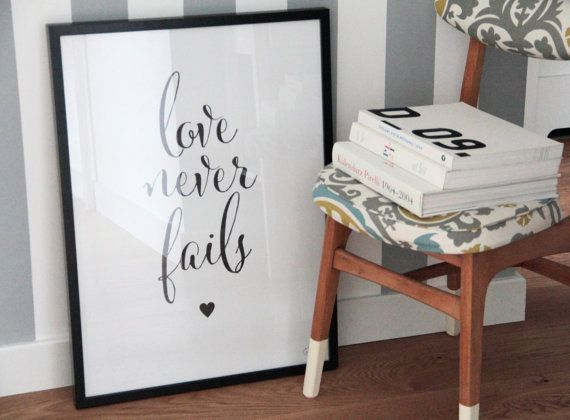 LOVE NEVER FAILS quote poster scandinavian style by gumberrypl