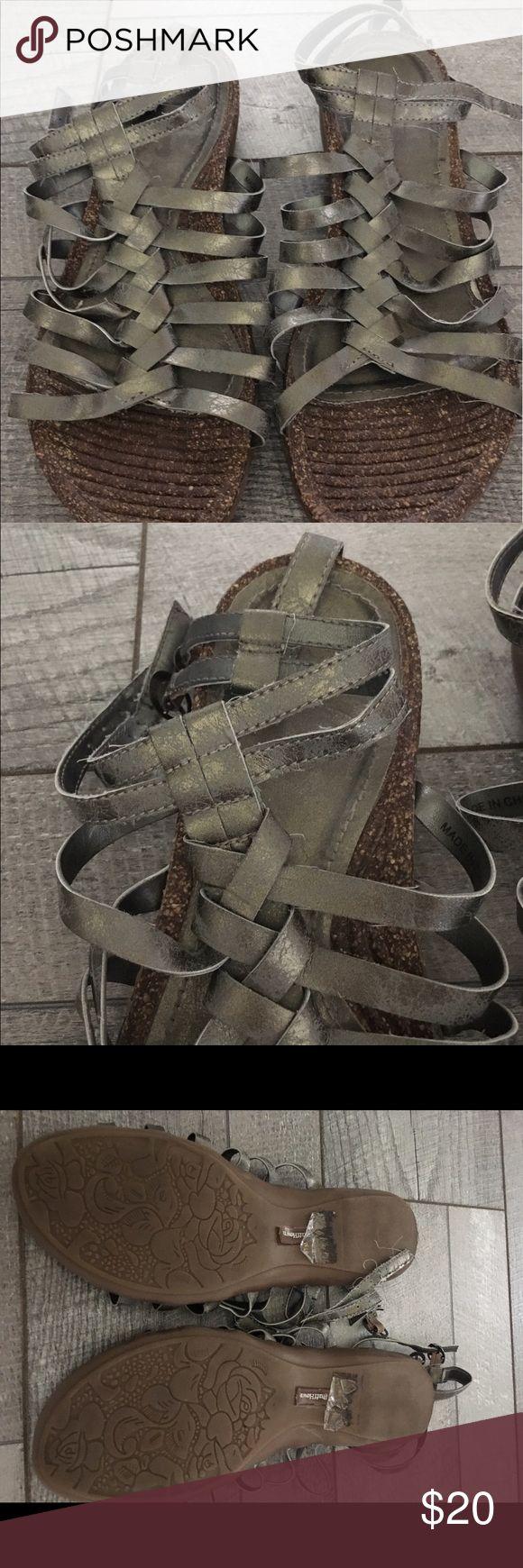 Ruff Hewn Metallic Gladiator Sandals Ruff Hewn Metallic gladiator sandals with two ankle buckles. Super cute!! Ruff Hewn Shoes Sandals
