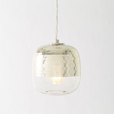 "$99 - Metallic Honeycomb Glass Pendant #westelm - 8.5""diam. x 8""h. Handblown, hand-cut glass with silver finish. 15' cord set included. In line on/off switch."