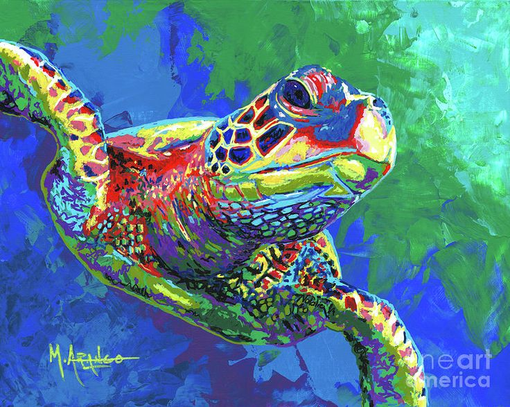 Sea Turtle Painting - Giant Sea Turtle by Maria Arango