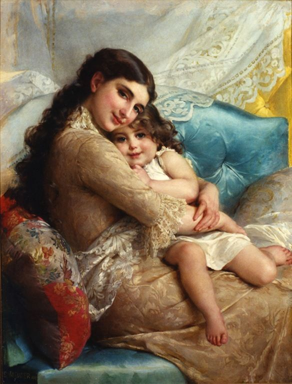 Portrait of a mother and daughter - Emile Munier (french, 1840-1895)