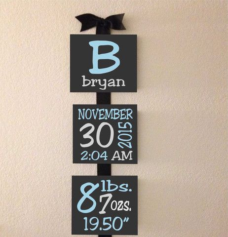 4 x 4 Custom Hand painted Nursery Baby Boy or Girl Birth Announcement Canvas Blocks