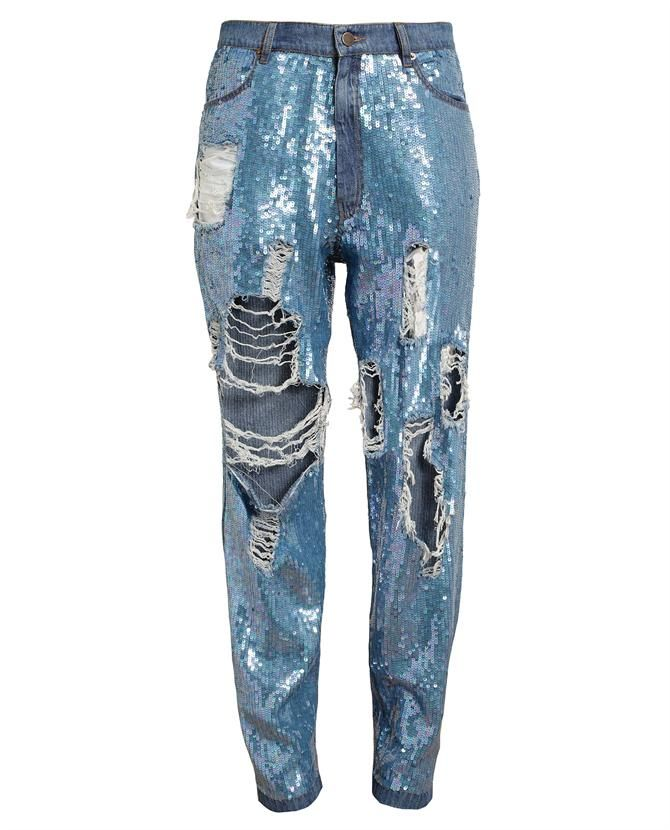 ASHISH | Distressed Sequin Denim Jeans