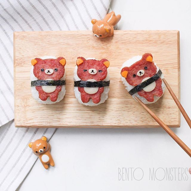 日本人のごはん/お弁当 Japanese meals/Bento. Rilakkuma Bear Sushi for Bento. Spamを使ったリラックマすし。弁当用。