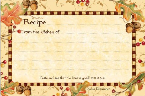 "Browlow Gift: Autumn Harvest Recipe Cards w/Scripture  36 Cards (4""x6"")  ~Kitchen~"
