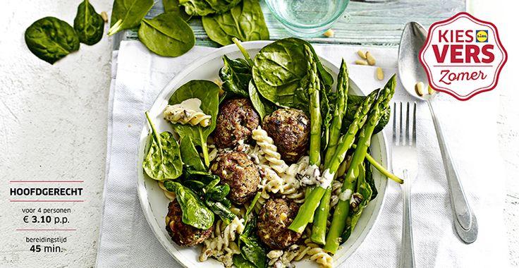 Recept voor Pijnboompitten-gehaktballetjes met spinazie en groene asperges #Lidl #Zomer