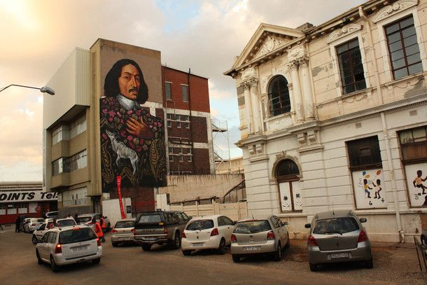 A landmark mural close to the entrance of MOAD, the Museum of African Design