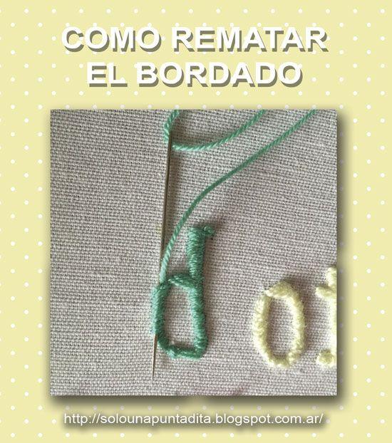 Sólo una puntadita...: Cómo rematar el hilo de bordado sin hacer nudos