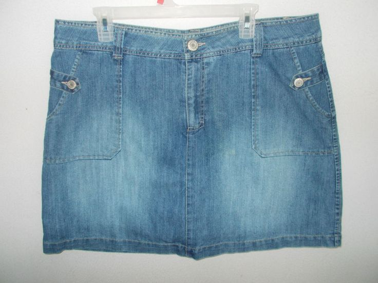 Faded Glory Skort 18W 2X Denim Skirt shorts faded blue jeans look ...