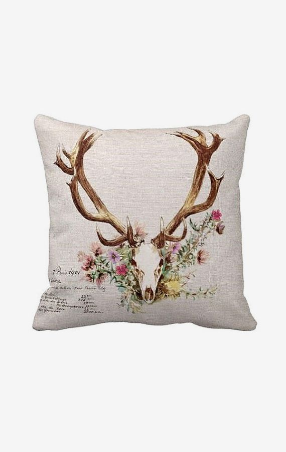 Pillow Cover Floral Deer Antlers Cotton and Burlap