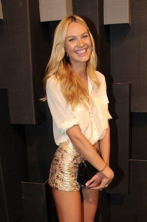 white blouse & gold-foil shorts