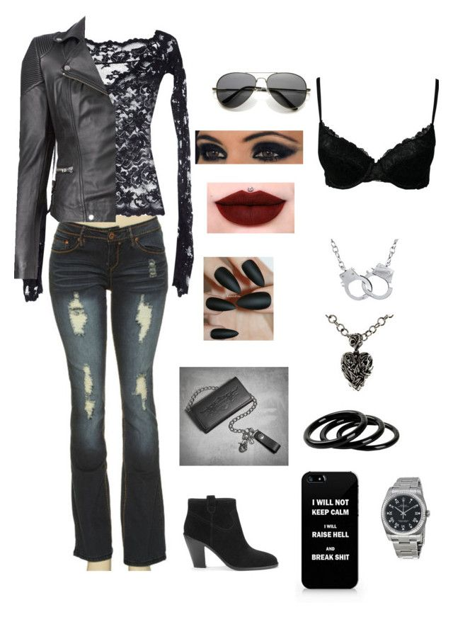 """Gemma Teller-Morrow Inspired"" by kloe-lee ❤ liked on Polyvore featuring YMI, Balensi, Ash, Kristin Cavallari, Jeffree Star, Rolex, Furla, Metal Couture, MuuBaa and Marie Meili"
