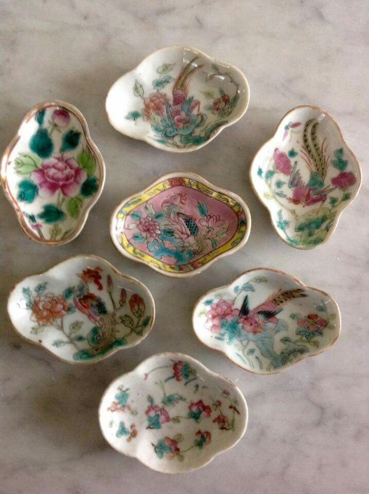 Pretty spoon rest or small sauce dishes from the Peranakan Museum in Singapore.