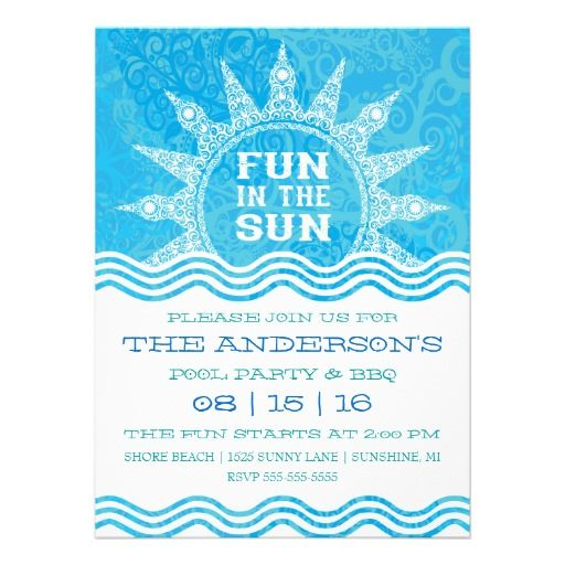Fun in the sun pool party invitation reunions sun and pools for Pool design reunion