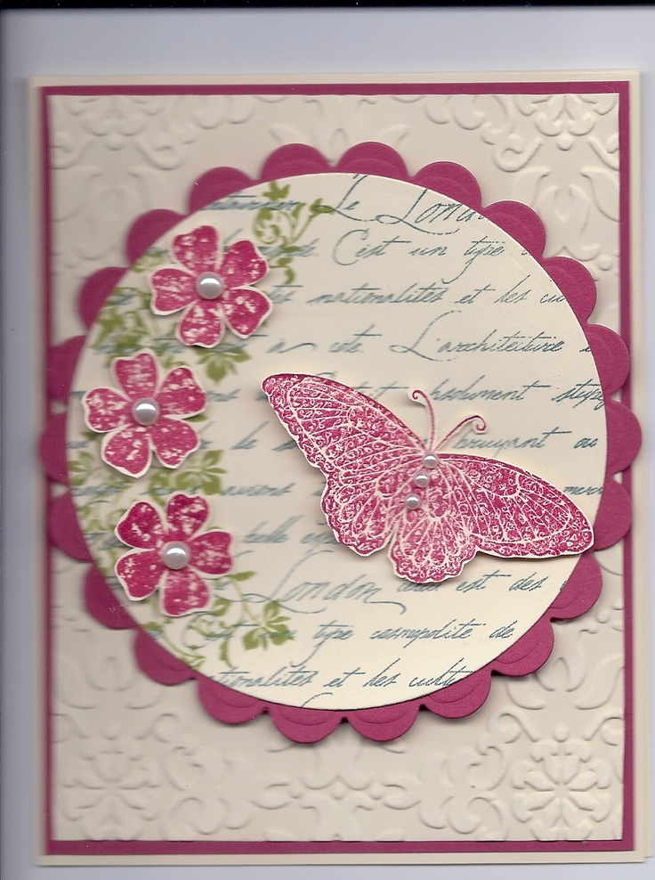 Stamping up Vintage Vogue and Strength and Hope stamp sets, Stampabilities Le London Script, Spellbinders die cuts and SU Vintage Wallpaper Embossing Folder.